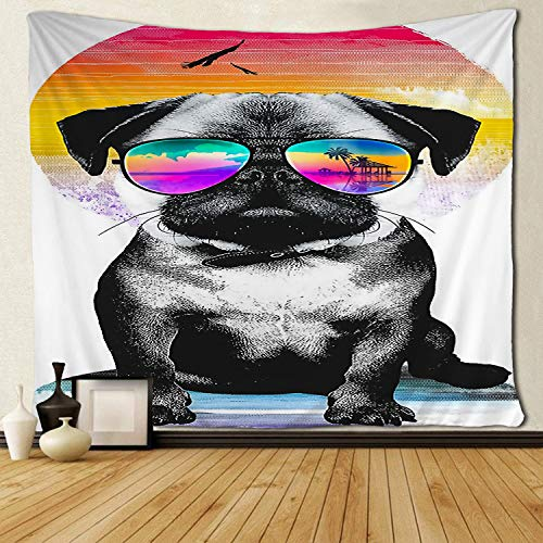 SARA NELL Tapestry French Bulldog Wearing A Headscarf and Glasses Tapestry Wall Hanging Tapestries Beach Throw Trippy Tapestries Decorative Bedspread Dorm Room Wall Hanging 50x60 Inches