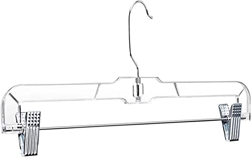 "Lot 30 Clear Plastic Clothes Hangers Pants Skirt 14/"" Set Hook Pinch Clip Sturdy"