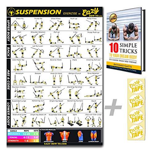 Eazy come a sospensione cavi esercizio allenamento TRX poster grande 51x 73cm Train Endurance, Tone, forza & Muscle Home Gym grafico