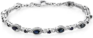 Line Tennis Bracelet 925 Sterling Silver Platinum Plated Marquise Blue Sapphire Jewelry for Women Gift Size 7.25