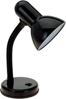 Simple Designs LD1003-BLK Basic Metal Flexible Hose Neck Desk Lamp, Black