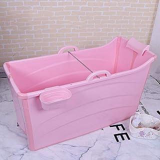 厚いプラスチックバスタブ、シンプルな折りたたみ収納バスルームバスバレル、ポータブル独立したバスアーティファクト-103x43x68cm (色 : ピンク)