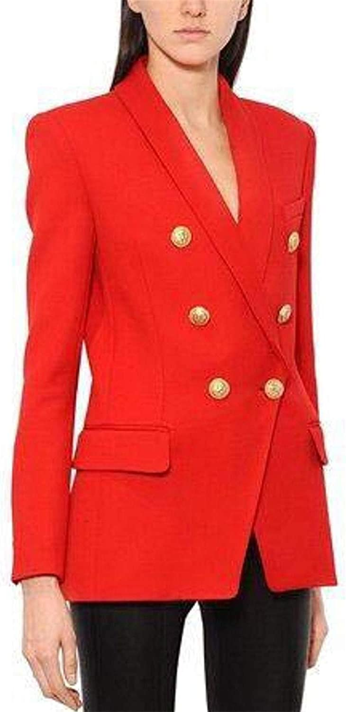 Susan1999 Designer Blazer Women's Long Sleeve Double Breasted Metal Buttons Long Blazer Outer Jacket