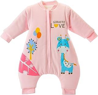 MIKAFEN baby Schlafsack langarm winter kinder Schlafsack mit Füßen, Abnehmbare Ärmel,ganzjahres Baumwolle Junge Mädchen unisex Overall Schlafanzug 3.5tog, M Größe:901-2Jahre