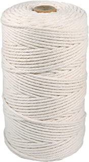 Macrame Cord 3mm x 218yards(About 200m), 100% Natural Beige Cotton Rope,4 Strand Twisted Soft Cotton Cord for Handmade DIY...