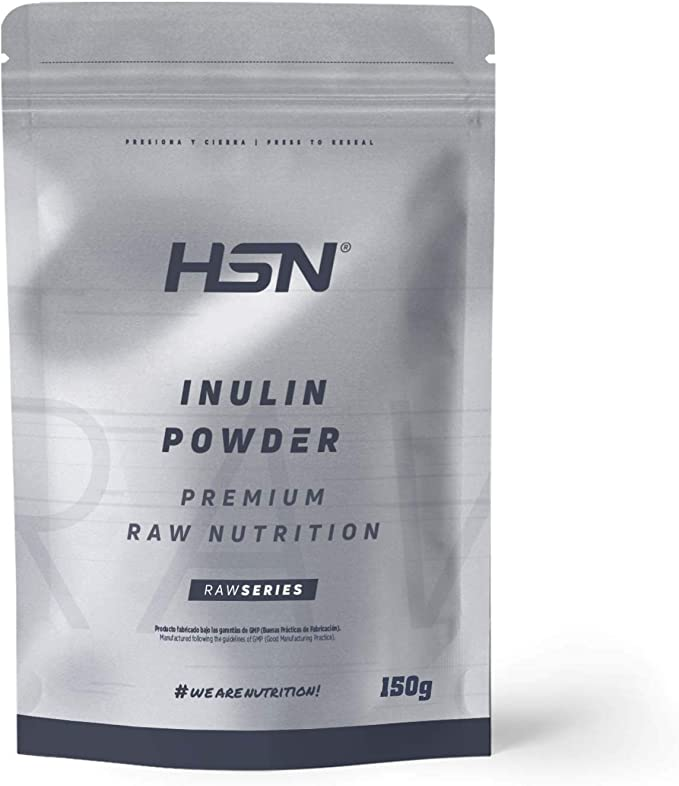 Inulina en Polvo de HSN | Fibra Prebiótica | Limpieza Intestinal, Reducción de Hinchazón, Alivio del estreñimiento | Vegano, Sin Lactosa, Sin Gluten, ...