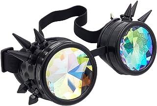 3443bb5998 Oudeer Vintage Rustic Cyber Kaleidoscope Goggles Steampunk Welding Goth  Cosplay Punk Glasses (Black Frame)