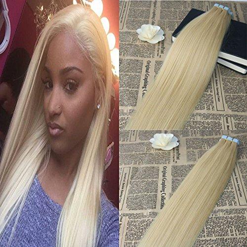 20'' Tape in Hair Extensions Skin Weft Blonde Real Hair Extensions #613 Full Head Tape in Human Hair Extensions 50Gram / 20Pcs Slik Straight Best Quality Tape Hair Extensions