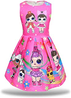 Little Girls Dress Sleeveless Print Pageant Pleated Dress for Doll Surprised
