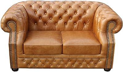Casa Padrino Genuine Leather Living Room Sofa Vintage Dark