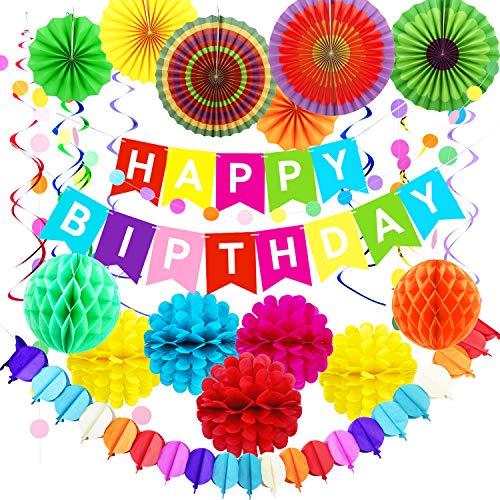 LOMOFI Decoraciones Cumpleaños 28 Piezas Fiesta de Cumpleaños Favores cumpleaños con pompones de papel de colores, remolino colgante, ventiladores de papel Decoración Fiesta Abanicos Boda Carnaval