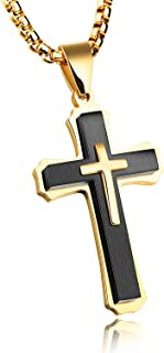 Retro Simple Design Stainless Steel Christ Cross Necklace Crucifix Metal Pendant for Men Women 21.6 Inches Religious Jewelry