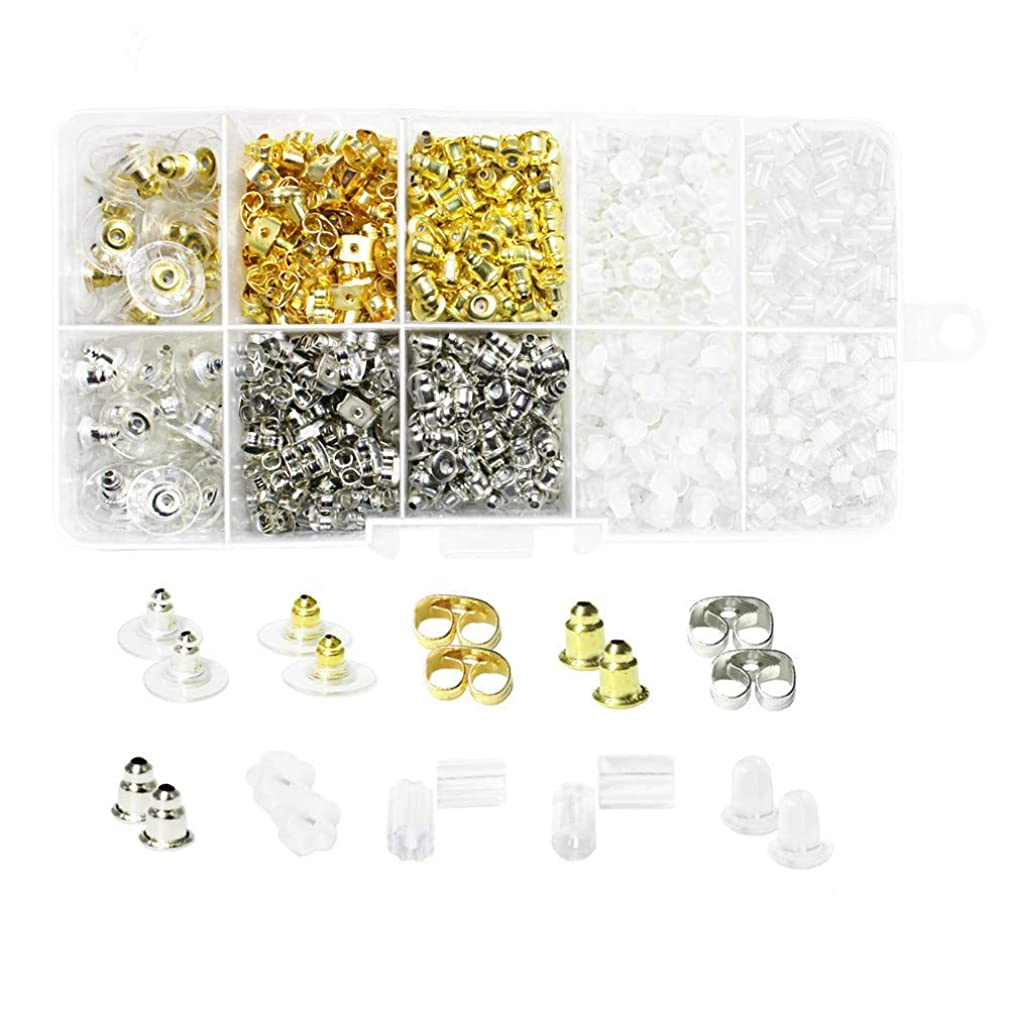 1360pcs Earring Backs, Premium Clutch Safety Earring Pad Including Styles of Clips Bullet Butterfly Metal Rubber Plastic, Clear Bullet Stopper Replacement Jewelry Findings