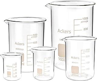 3.3 Boro Griffin Low Form Scientific Glass Beaker Set-50ml,100ml,250ml,500ml,1000 mL (Pack of 5)