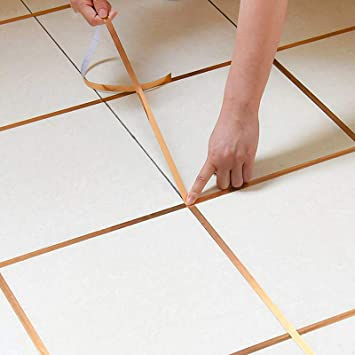 Amazon Com Eanpet 0 2 Inch X 166 Ft Tile Stickers Decorative Floor Wall Sticker Foil Line Peel And Stick Adhesive Waterproof Gap Cover For Kitchen Bathroom Living Room Bedroom 1pc Roll Gold Kitchen