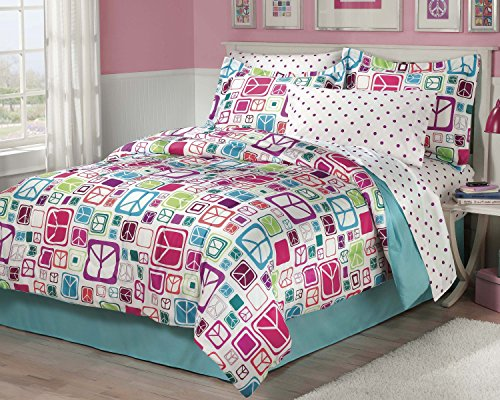My Room Peace Out Girls Comforter Set With Bedskirt, Multicolor, Full