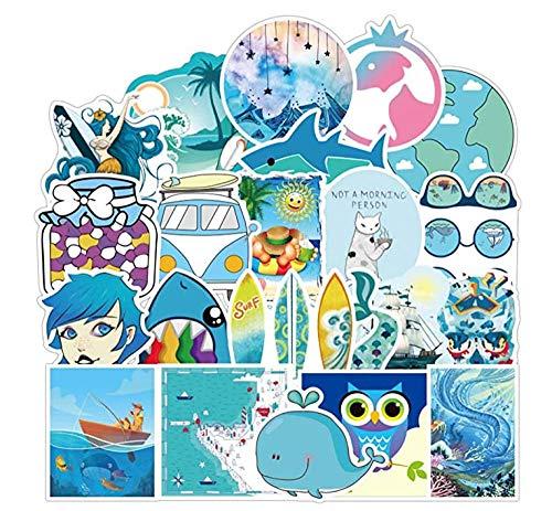 Stickers Blue Sea Stickers voor Laptops, Waterdichte Decal voor Waterfles Koelkast Bagage Hydro Flask, Vinyl Beach Zeemeermin Dolfijn Patches voor Meisjes Kids Peuters Volwassenen, 100 stks