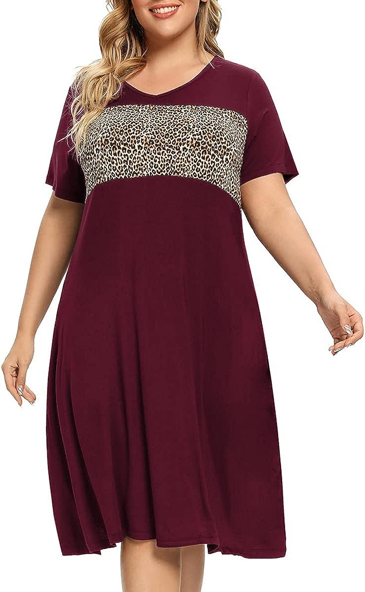 OVERWORETY Women Plus Size Dresses Short Sleeve V Neck Casual T-Shirt Swing Tunic Dress with Pockets