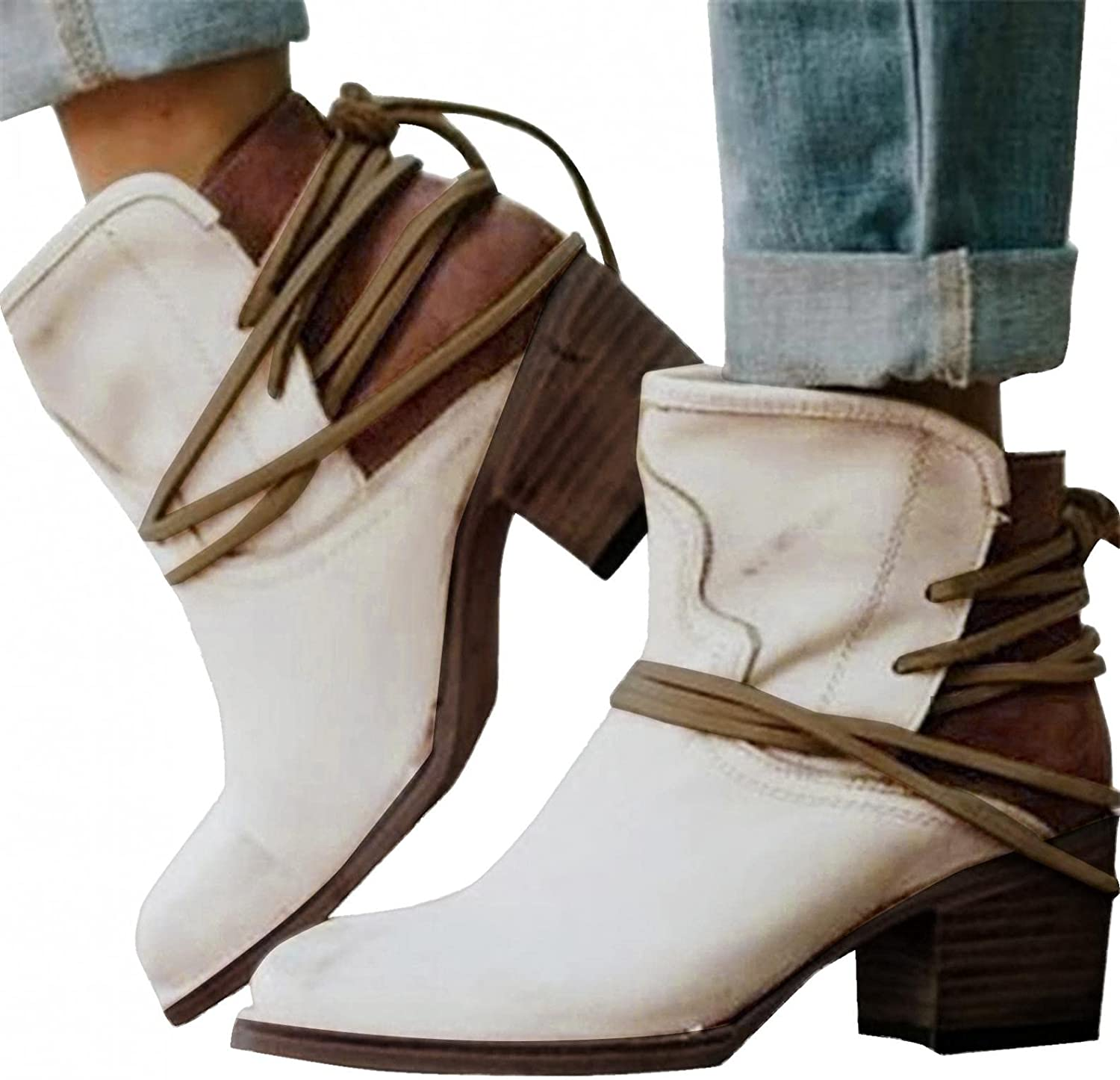 Zieglen Boots for Women, Womens Boots with Stacked Heel Ankle Cowboy Booties Platform Boots Western Boots Womens Winter Boots