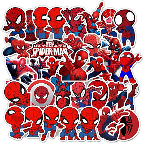 Pegatinas de Spiderman de dibujos animados Disney Marvel Los Vengadores de monopatín, guitarra, portátil, equipaje, bicicleta, juguete 35 unidades