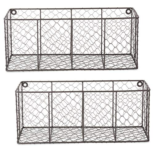 DII Chicken Wire Collection Farmhouse Wall Baskets, Medium, Vintage Grey
