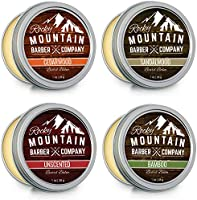 Beard Balm Variety Pack - Canadian Made - 4 Beard Balm Samples (1 oz each) - Made with Argan Oil, Shea Butter, Coconut...