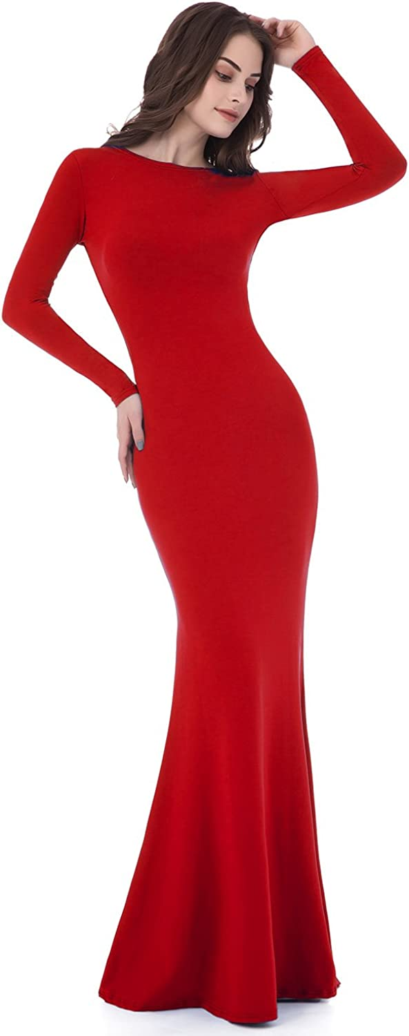 Sarahbridal Women's Long Sleeve Prom Dresses Mermaid Backless Sheath Evening Gowns