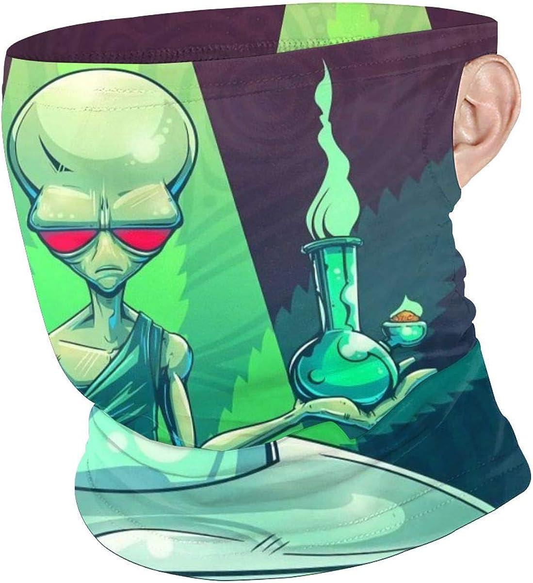 Cool Alien Take Cigar and Drug Marijuana Leaf Weed Bandanas Face Scarf Earloop Men Women Neck Gaiter Mask UV Sun Mask Headwear Balaclava Bandana for Dust Outdoors Sports