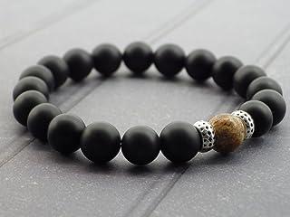 Bracciale per gli uomini perline di perle e diaspro agata