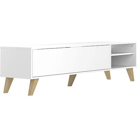 marque amazon movian enol meuble tv 165 x 40 x 43 2 cm longueur x profondeur x hauteur blanc et pieds en hetre