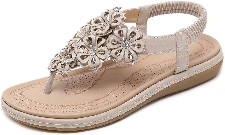 Dreneco Round Peep Toe Rhinestone Flower Elastic Bohemian Sandals for Women, Summer Beach Post Sandals Flip Flops Flat shoes for Ladies