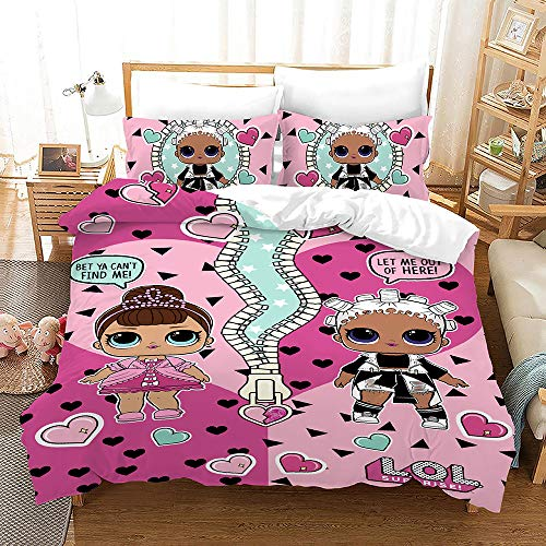 BEDLININGS 3Pcs Kids Duvet Cover Set Lol Printed Bedding Set Microfiber Soft Comfortable Quilt Cover Set And Pillowcase for Girls Bedroom,B,220 * 240cm