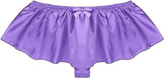 QinCiao Men's Satin Frilly Ruffled Thong Sissy Crossdress Underwear Male Skirted Panties