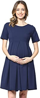 Women's Maternity Midi Dress with Front & Back Pleat
