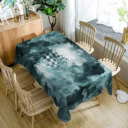 Tafelkleed, polyester, kreukvrij waterdicht, geometrische abstracte figuren, moderne eenvoud, groot formaat (rechthoekig, olijfgroen) 140 * 200 cm