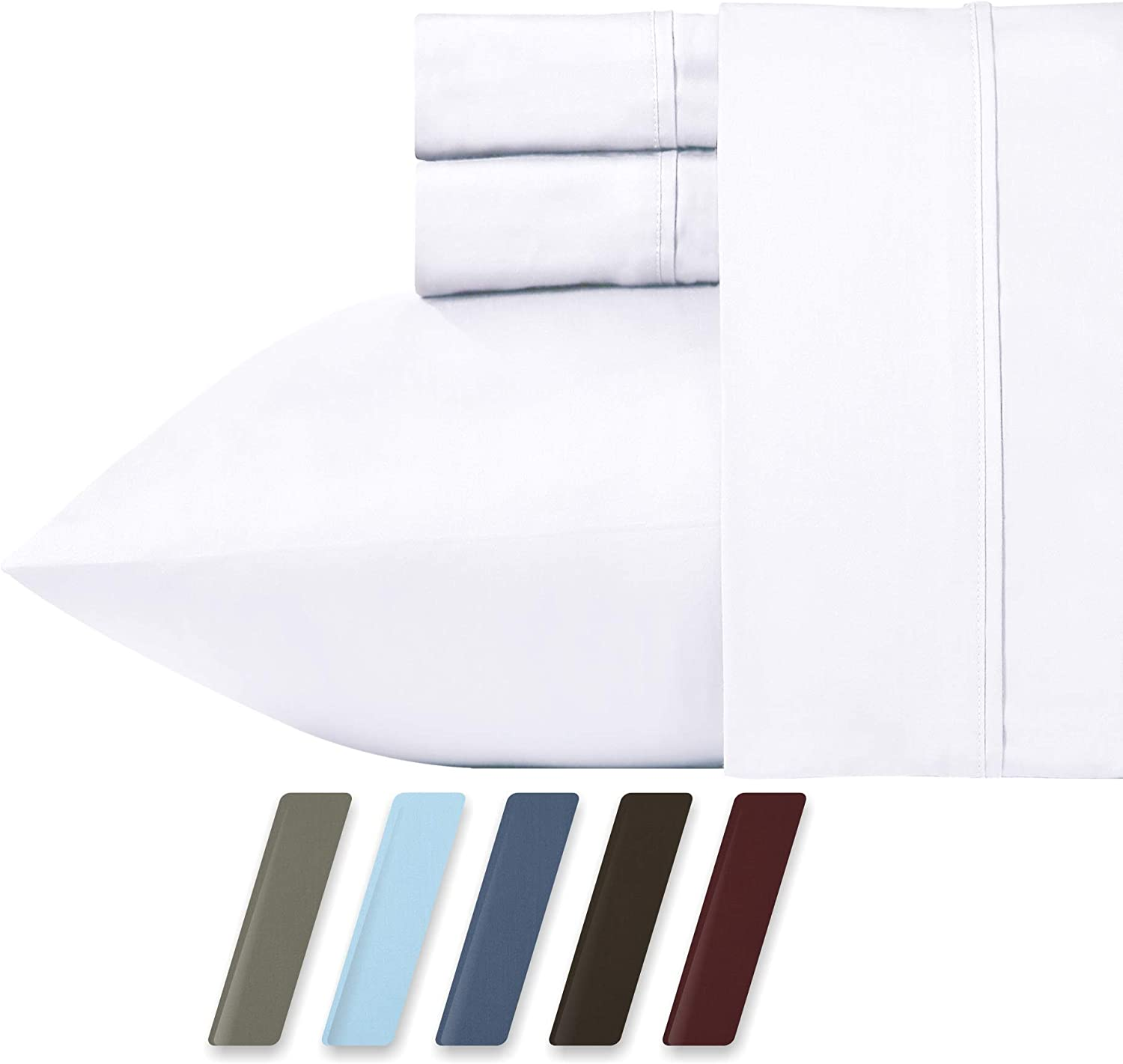 RV Short Queen White Sheet Set for Motorhomes & Camper, 4-Piece 400 Thread Count Egyptian Quality Cotton Sheets, Long Staple Cotton Sateen Weave for Soft Silky Feel, Fits 16  Deep Pocket Mattress