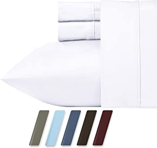 RV Short Queen White Sheet Set for Motorhomes & Camper, 4-Piece 400 Thread Count Egyptian Quality Cotton Sheets, Long Staple Cotton Sateen Weave for Soft Silky Feel, Fits 16