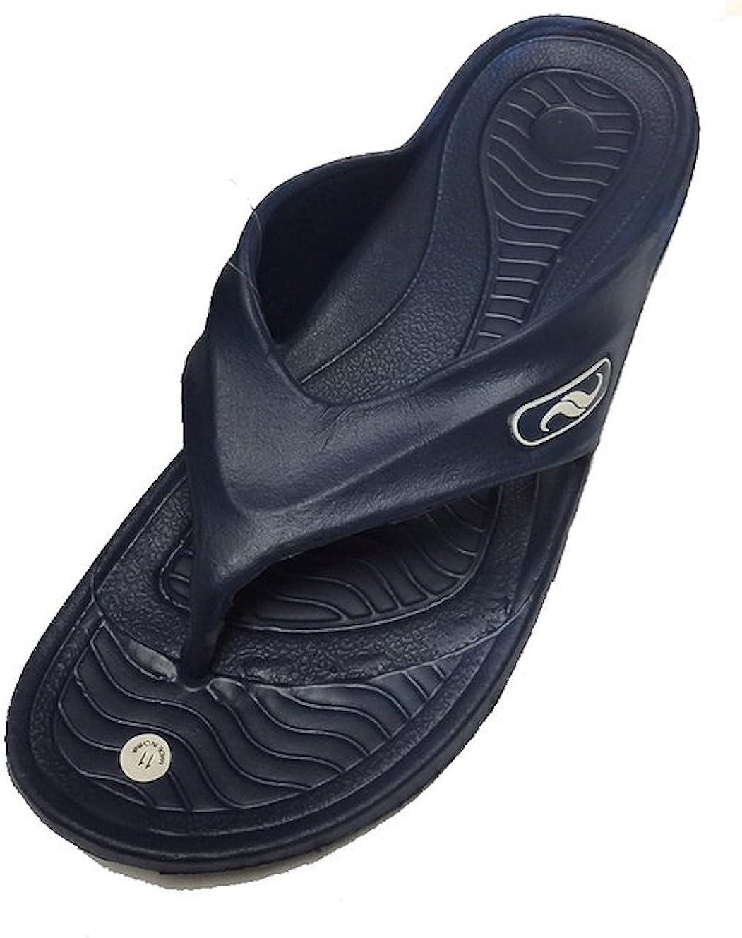 GEAR ONE Men's Rubber Sandal Comfortable Shower Beach Shoe Slip On Flip Flop (S-Blue)