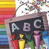 20 Servietten ABC 123 - Schulanfang farbenfroh / Einschulung / Schule / Schultüten 33x33cm