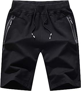 JustSun Mens Sports Shorts Cotton Gym Shorts Elastic Waist Zip Pockets