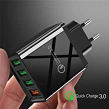 Quick Smart QualComm Charge 3.0 4 Port USB Charger USB Fast Charging QC4.0 QC3.0 for Smart Phones, Tables & Other Electronic Devices Wall Adapter, Color: Black, 48W, Led Lights, USA Plug Type