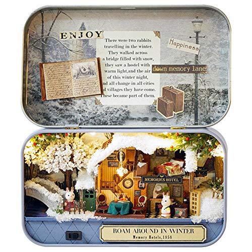 EisEyen DIY Dollhouse Miniature Kit Modellraum Kreativer Espacio con Muebles y Cover Handmade Navidad/cumpleaños Idea Geschenkbox