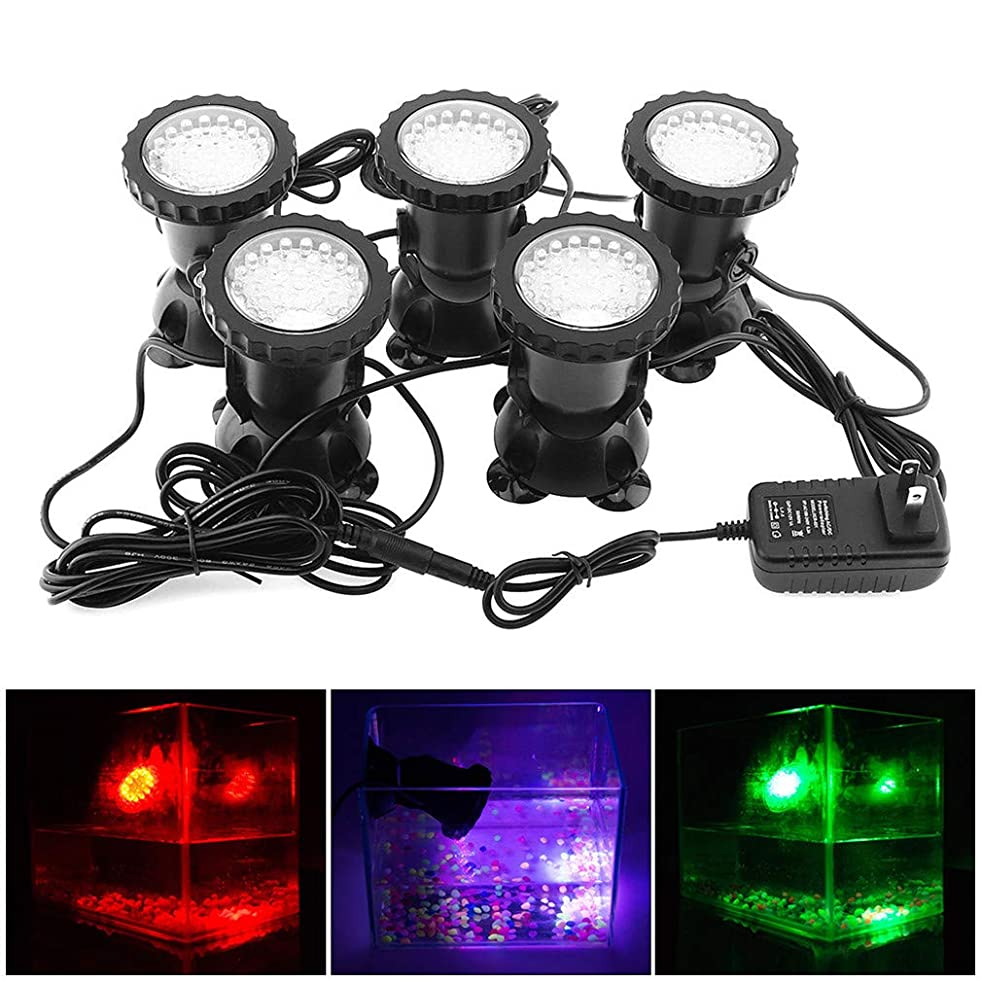 研究所六月かすかな水中ライトリモコンプールライト、RGB防水水槽LEDスポットライトフィッシュポンドガーデン5PCS