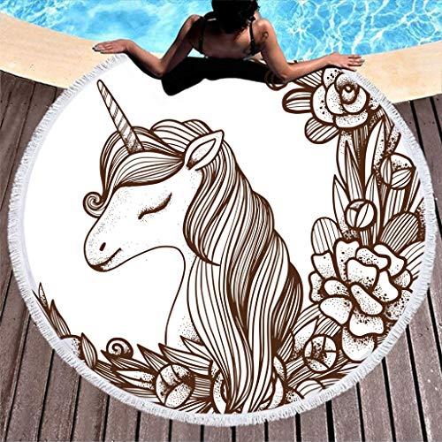 N/A - Toalla de playa redonda con diseño de unicornio para