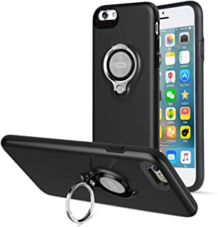Compatible Phone case for iPhone 6 Plus Case with Ring Kickstand by ICONFLANG, 360 Degree Rotating Ring Grip Case for iPhone 6 Plus Dual Layer Shockproof Impact Protection iPhone 6+ Case (Black)