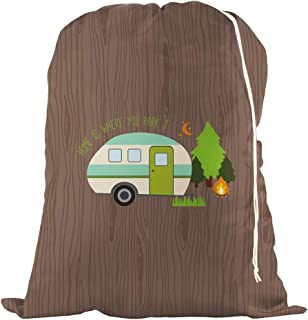 Large Laundry Bag - Store Dirty Clothes at Summer Camp, College Dorm, or Home - 16 Designs Available - 24 x 32 inches (Home is Where You Park It)