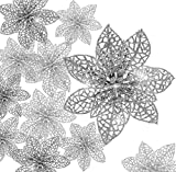 KAHEIGN 30 Piezas Poinsettia De Brillo Navideño, 7.5 /10 /15cm Ornamento Del...