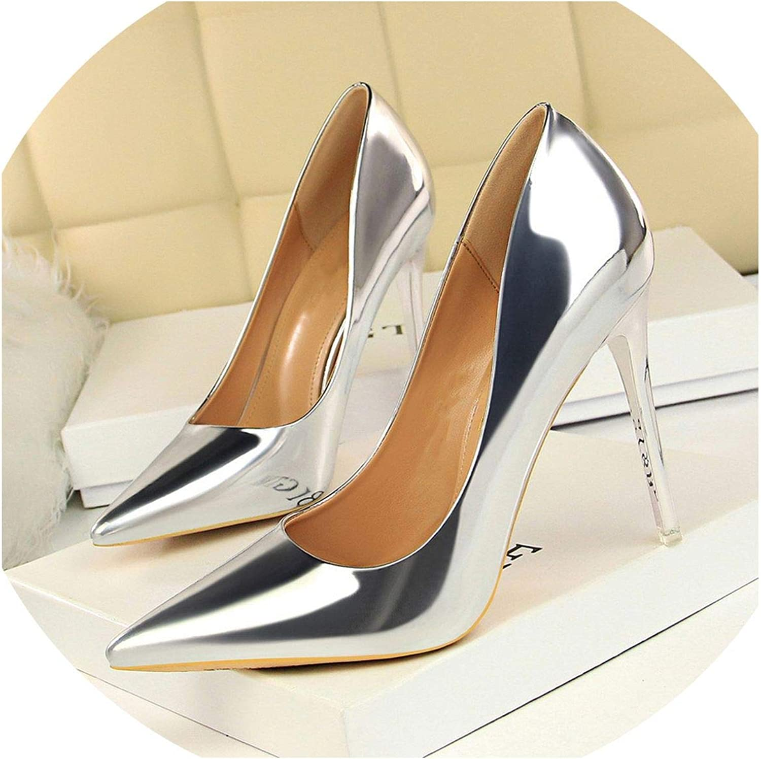 Patent Leather Thin Heels Office Women shoes Pumps Fashion High Heels shoes Women's Pointed Toe
