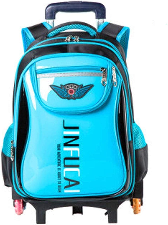 Aishanghuayi School Bag, Student Bag, Trolley Bag, Twgoldund Flash, Suitable For Grade 16 Students, 43  30  15cm, Yellow, bluee beautiful