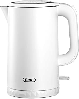 Electric Kettle, Gevi 1.7L Double Wall 100% Stainless Steel Tea Kettle, Cool Touch & Cordless Water Boiler with Overheating Protection, 1500W Hot Water Boiler (BPA-Free) with LED Indicator
